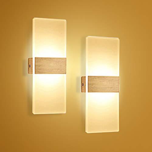 Hengda LED Wandleuchte 6W 2er Set Wandlampe Warmweiß Wandbeleuchtung Acryl Innenleuchte Beleuchtung IP44 Für Wohnzimmer Schlafzimmer