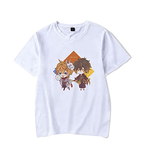 CAFINI Camiseta Genshin Impact, Jersey De Manga Corta con Estampado De Dibujos Animados Tartaglia/Zhongli, Sudadera De Moda Casual para Estudiantes Masculinos Y Femeninos(XS-3XL)