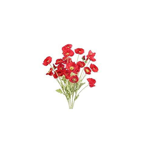 Luckylele Flores Artificiales Artificial Rojo Falso Flores de Seda Faux maíz Flores con 4 Cabezas de Flores para la Tumba de la Cocina de la Cocina de la Cocina de la Boda para el Interior de la Boda