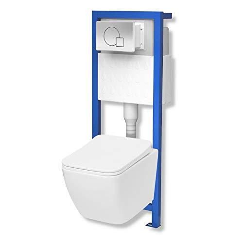 Domino Lavita Vorwandelement inkl. Drückerplatte+ Wand-WC Lino ohne Spülrand + WC-Sitz mit Soft-Close Absenkautomatik Drückerplatte MS (mattverchromt)