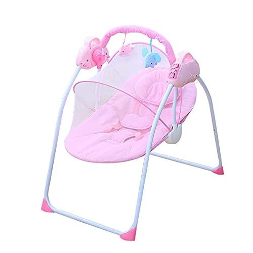 Silla eléctrica de mecedora del bebé, hamaca con almohadas y mosquiteras y 2 muñecas de peluche, 3-velocidad ajustable, cinturón de seguridad de 5 puntos, vibración relajante, baby boomper WDH666