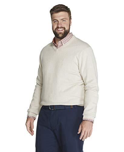 IZOD Men's Big and Tall Premium Essentials Solid V-Neck 7 Gauge Sweater, ROCK HEATHER, 2X-Large