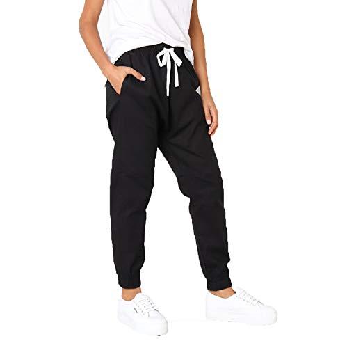 LaiYuTing Women's Pants Elastic Waist Lace-Up Overalls Women's Nine-Point Casual Pants Wide Barrel Type Black