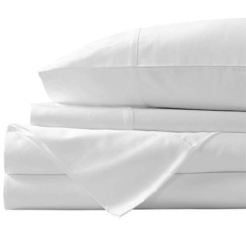 "New York Mercado Super Soft, Elegant and Premium Quality, 100% Egyptian Cotton, Italian Finish 600 TC, Long stapled 4-pc Bedding Sheet Set with 21"" Deep Pocket (Queen - Sheets, White)"