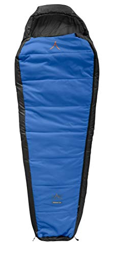 Grand Canyon Fairbanks - warmer Mumienschlafsack, 3-Jahreszeiten, Extrem: -21°, Unterseite wasserabweisend, bis Körpergröße 190 cm, für Camping, Outdoor, Survival, Trekking, blau, 301005