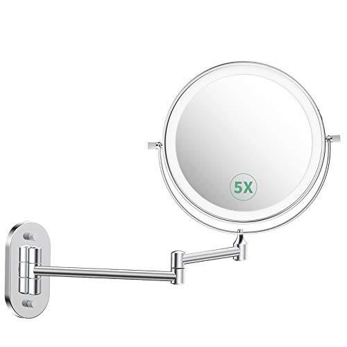 """alvorog Espejo Maquillaje con Luz LED, Espejo de Pared con 3 Modos de Luz y Aumento 1x/5x, Espejo con 36 Leds, Luz Ajustable y Rotación de 360°, 8""""Espejo de Baño con USB Cable o Batería - Plata"""