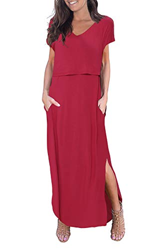 Smallshow Women's Maternity Nursing Dresses Split Long Dress for Breastfeeding Medium Burgundy