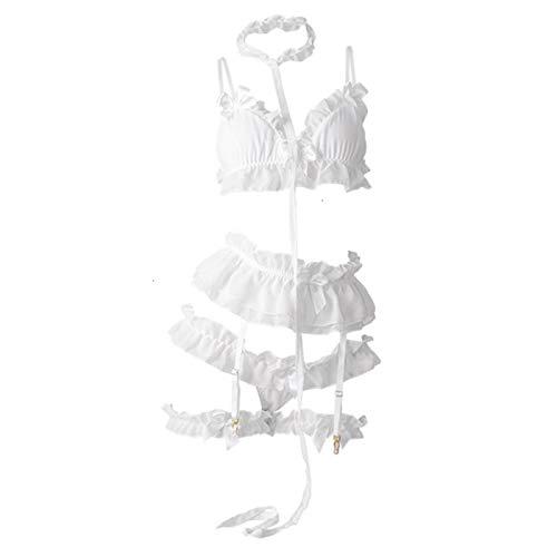 Bwer Conjunto de lencería de Cosplay Sexy de Lolita con Volantes, Conjunto de muñeco de Peluche, Sujetador, Traje de camisón, lencería Japonesa Kawaii, Noche