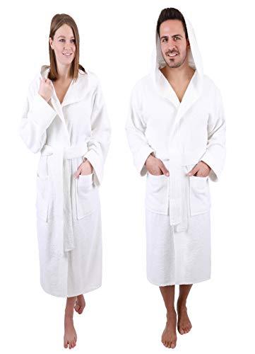 Betz Peignoir d'intérieur à Capuche Paris 100% Coton Mixte Bicolore Taille S à XXL Taille M - Blanc-Blanc