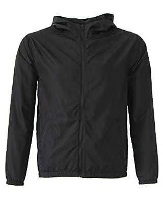 Global Kid's Hooded Lightweight Windbreaker Rain Jacket Water Resistant Shell (Large, Black)