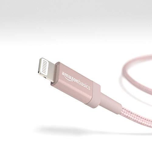 Amazon Basics – Verbindungskabel Lightning auf USB-A, Nylon-umflochten, MFi-zertifiziertes Ladekabel für iPhone, rotgoldfarben, 1,82 m
