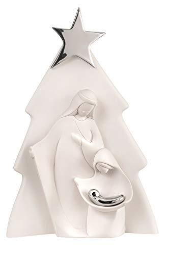 MAZZOLA LUCE Piccolo presepe statuina da Tavolo Moderno Stilizzato Albero di Natale nascità Bianco Argento Made in Italy h15cm