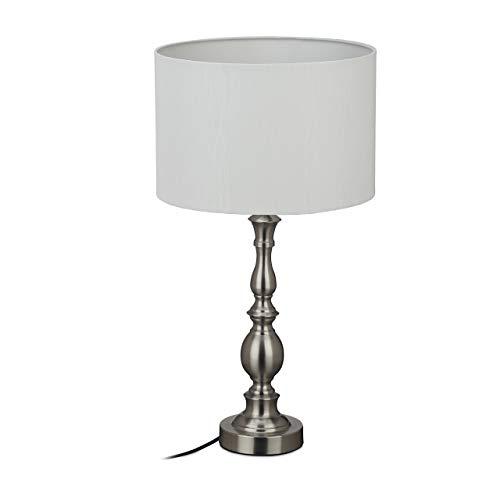 Relaxdays Lámpara de mesa, pantalla de tela, casquillo E27, para...