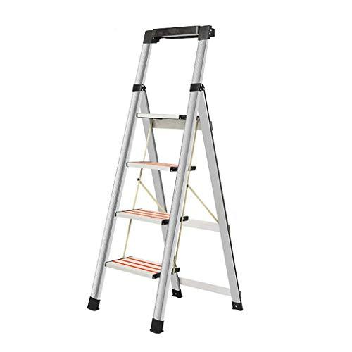 HYY-YY Las escaleras portátiles plegables de acero inoxidable Escaleras multifunción interior y exterior antideslizante Ingeniería escalera de aluminio de cuatro pasos de escalera escalera taburete ta