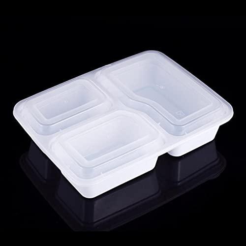 Recipiente apto para microondas, recipiente para preparación de comidas de 10 piezas con almacenamiento de alimentos en los labios, apto para microondas desechable, 3 compartimentos(Blanco1000ML)