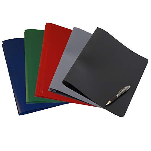 FLVG 5 A4 Schnellhefter, blickdicht, Farben: dunkelblau, dunkelrot, dunkelgrün, grau, schwarz, von hinten abheftbar