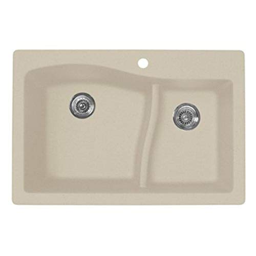 Swanstone QZ03322LS.077 Granite 1-Hole Dual Mount Single-Bowl Kitchen Sink, 33-in L X...