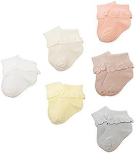 DEBAIJIA Calcetines Bebé Algodón Primavera Verano hoja loto Encaje Punto Cómodo Lindo Respirable 1-3 años - Pack de 6 Pares