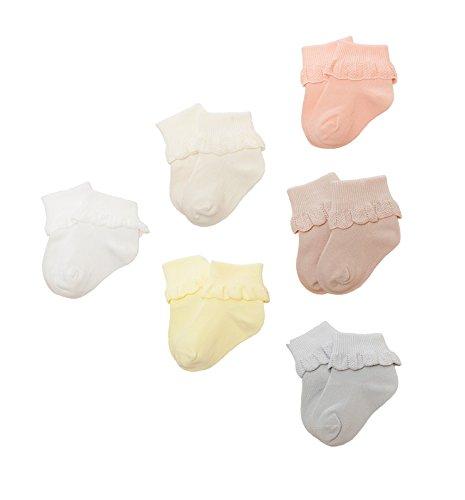 DEBAIJIA Bunt Socke Baumwolle für Baby 0-1 Jahr Kleinkind Mädchen Stricksocken Elastisch Weich Lotusblatt 6er Pack - S