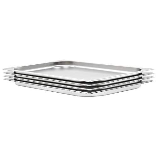 vidaXL 4X Bandejas Gastronorm de Alimentos GN 1/1 Utensilios Calientaplatos Hostelería Cocina Comida Buffet Baño María 20 mm de Acero Inoxidable
