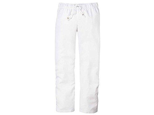 Esmara Damen Leinen-Hose Sommerlich Leichter Stil (40, weiß)