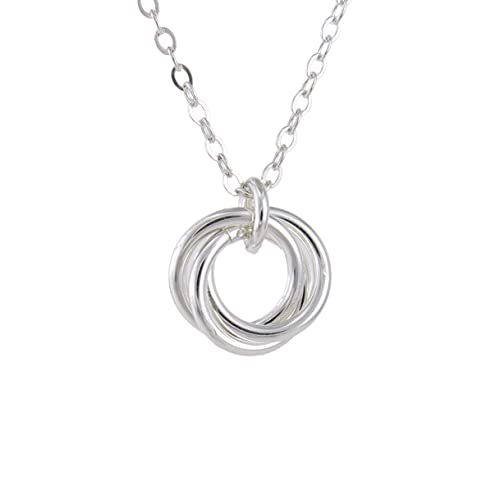 Dainty Shiny Sterling Silver Love Knot Pendant Necklace Gift for Her 20 Inches