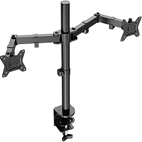 ErGear Dual Soporte de Monitor para pantallas 13�-32� con Construcción Robusta Altura ergonómica con Inclinación ajustable ±85º, Giro 180º, Rotación 360º Soporta hasta 8KG VESA 75/100mm