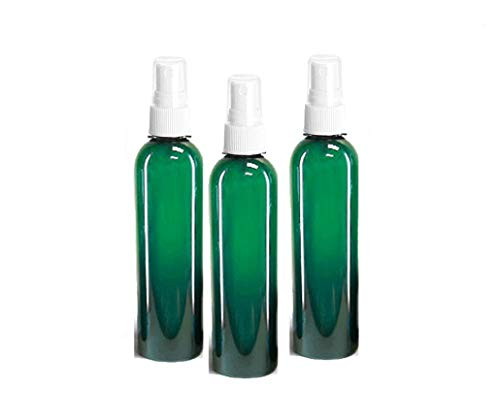 Grand Parfums 8oz Green Plastic Refillable PET Cosmo Spray Bottles (BPA-Free) with White Fine Mist Atomizer Caps (3-Pack); Beauty Care, Travel Use, Home Cleaning, DIY, Aromatherapy