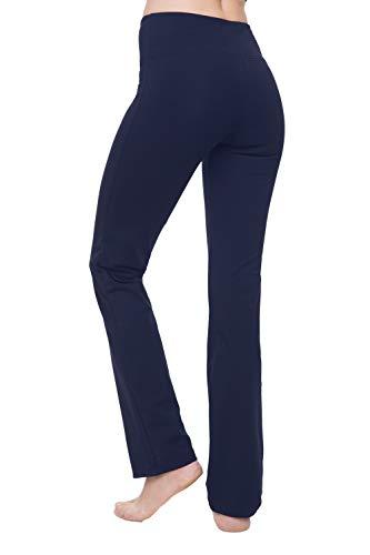 "Nirlon Women's Straight Leg Yoga Pants High Waist Leggings (Medium 32"" Inseam, Navy Blue)"