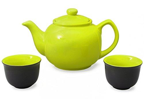 Aricola Teeservice bestehend aus Teekanne Malika grün 1,2 Liter aus hitzebeständiger Keramik mit Siebeinsatz aus Edelstahl und 2 Teecups 120ml, Original