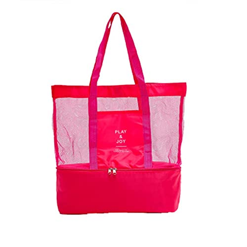 JSBAN Aislamiento térmico refrigerador Bolsa Ropa cosmética Organizador Impermeable Comida Bebida Bolsas de Almacenamiento Bolsa de Malla Doble Tote Bolsa de Playa (Color : Pink, Size : 37x42x15cm)