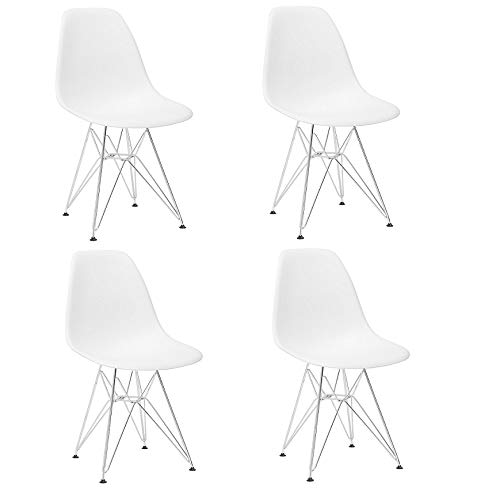 Plastic Dining Chair Modern Mid-Century Side Chair with Metal Eiffel Style Chrome Base Legs for Kitchen, Living Room and Dining Room, Set of 4 (White)
