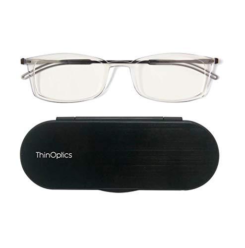 ThinOptics Milano Aluminum Frontpage Brooklyn Rectangular Reading Glasses, Clear Frames/Silver Case, 2 x + 2