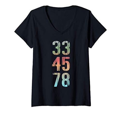 Mujer Camiseta de coleccionista de discos de regalo Vinyl Lover 33 Camiseta Cuello V