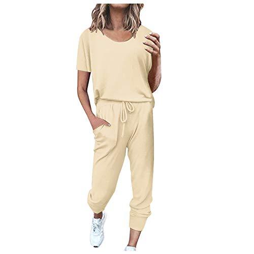 Masrin 2Pc Damen Sportswear Set Freizeit einfarbig Homewear Anzug Kurzarm Tops Jogginghose Sets(XXXL,Beige)