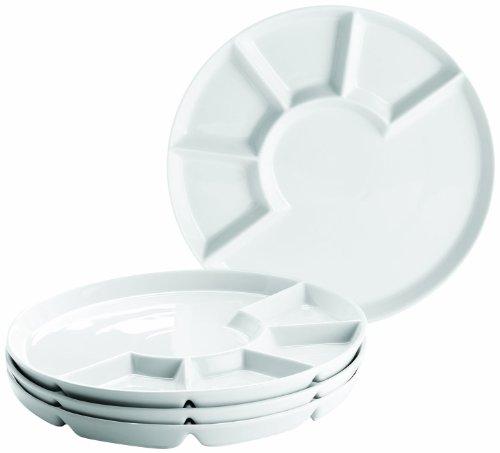 MÄSER 925600 Fondue-Teller Set für 4 Personen, ideal auch als Grillteller, weiß, Ø 24 cm, Porzellan