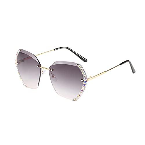 FSFA Gafas de sol para mujer, grandes, polarizadas, protección UV400, gris oscuro, Talla única