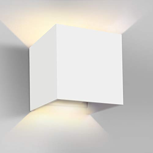 GHB 7W LED Apliques de Pared Lamparas de Pared impermeable PI65 con Luz Blanco Cálido Universal para Decoración de Casa Jardín de Lluminación de Exterior y Lluminación de Interior