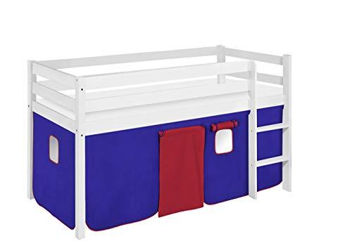 LILOKIDS JELLE 90 x 190 Lit mezzanine avec rideau et sommier à lattes Bleu Rouge