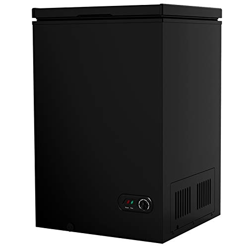 COOLHOME 3.5 Cubic Feet Chest Freezer with Removable Basket, from 6.8℉ to -4℉ Free Standing Compact Fridge Freezer for Home/Kitchen/Office/Bar (BLACK, 3.5 cubic feet)