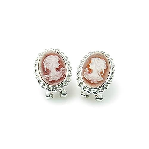 Minoplata Pendientes camafeo de Plata de ley con cierre omega un diseño clásico para mujeres que adoran las joyas que no pasan de moda