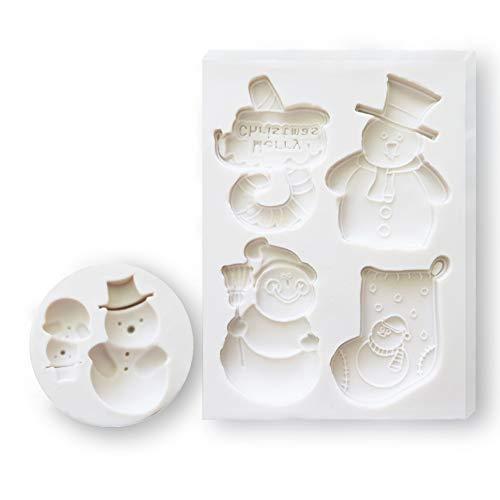 2 Stks Fondant Siliconen Mallen, CNYMANY 3D Kerstmis Suiker Craft Cake Decoratie Cupcake Topper Crafting Projecten Gum Plakken Hars Polymeer Klei Mould Style C