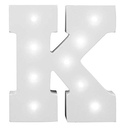 KINGCOO Dekorative leuchtende Buchstaben, Lampe batteriebetrieben hölzerne Alphabet uchstaben Zeichen Lichter,Party Hochzeit Dekorationen,Dein Name in Lichter - weiß (K)