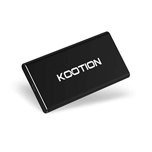 KOOTION 250GB SSD Esterno Hard Disk Solido Esterno Portatile Disco Rigido USB C 3.1, Alta Velocità di Lettura e Scrittura Fino a 550 MB/s e 500 MB/s, per MacBook, Computer, Laptop, Desktop, Nero