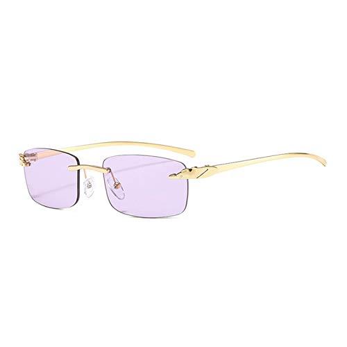 MissLi Gafas De Sol Rectangulares Sin Montura De Guepardo Único Vintage para Mujer, Lentes Transparentes De Colores Dulces, Gafas De Diseñador De Marca para Hombre, Gafas De Sol (Color : 3)