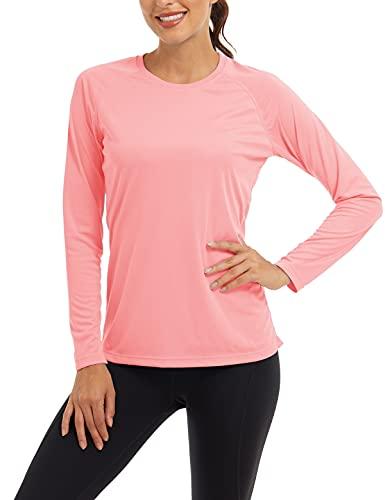 UV-Schutz Shirts Langarm T-Shirt Damen Sonnenschutz Sommer Gym Tops Cycling UPF 50 Shirt Bade Board Shirt Outdoor Angel Reise UV-Schutzkleidung Sun Protection Shirt Rosa