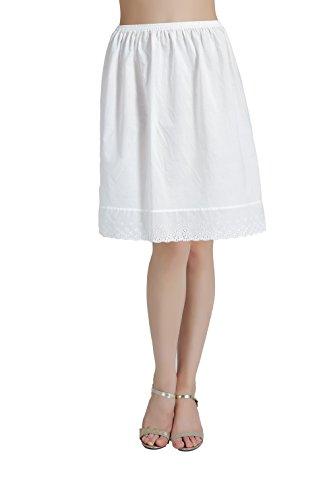 BEAUTELICATE Damen Unterrock 100% Baumwolle Vintage Kurz Halbrock Mit Spitze Lang Dirndl Petticoat Elfenbein 50CM 60CM 70CM 80CM Größe S M L