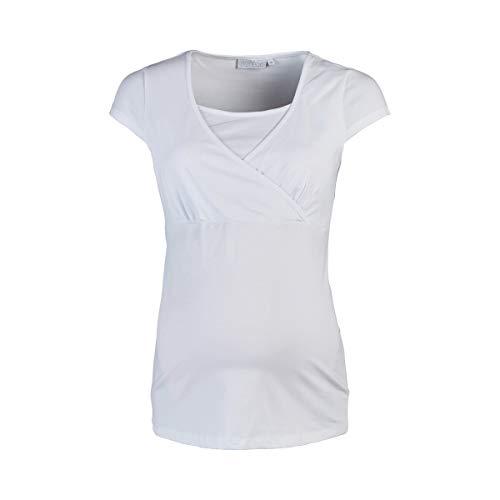 2HEARTS T-Shirt de Grossesse et d'allaitement Cache-Coeur T-Shirt de Grossesse T-Shirt de Grossesse, Blanc