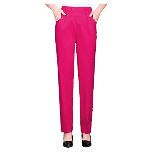 U/A Pantalones de Mujer Primavera Verano Estiramiento Cintura Algodón Pantalones Medio
