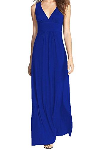 WOOSEA Women Sleeveless Deep V Neck Loose Plain Long Maxi Casual Dress Blue